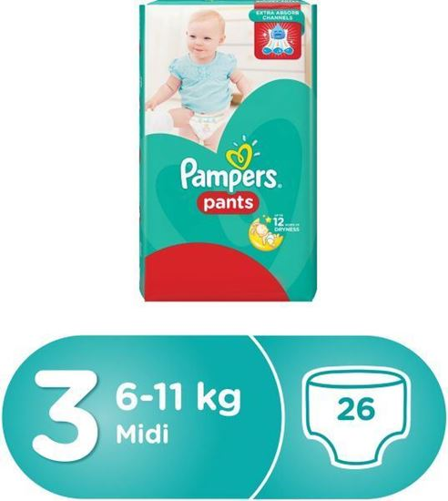 Picture of Pampers Pants Diapers, Size 3, Carry Pack - 6-11 kg, 26 Count